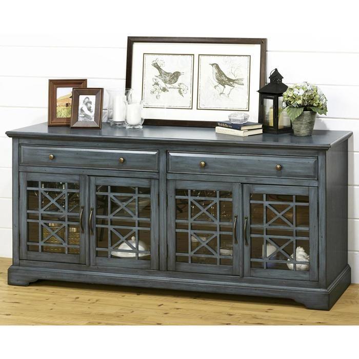 Craftsman 70 TV Console in Antique Blue Nebraska Furniture Mart
