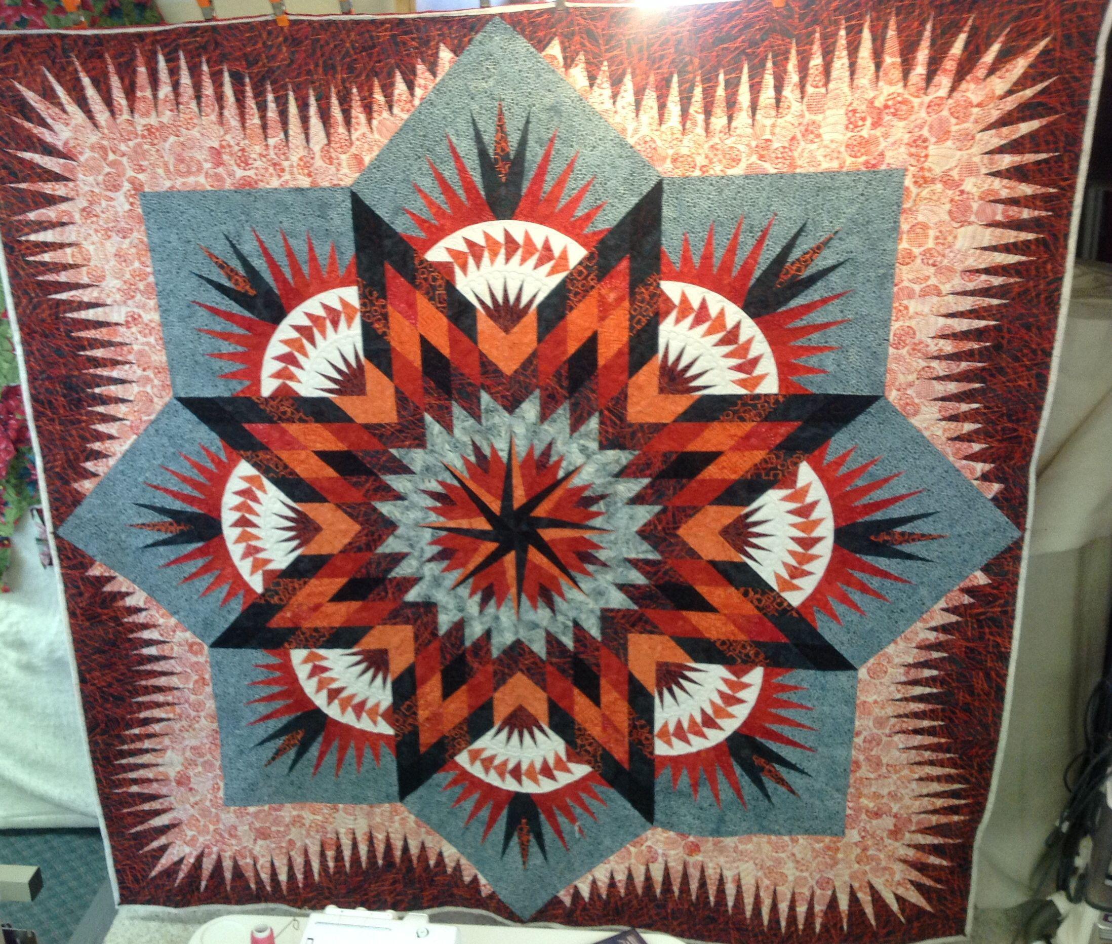 Kristen's Prairie Star quilt.    Pattern by Judy Niemeyer.  Machine quilted by Kathleen Crabtree.