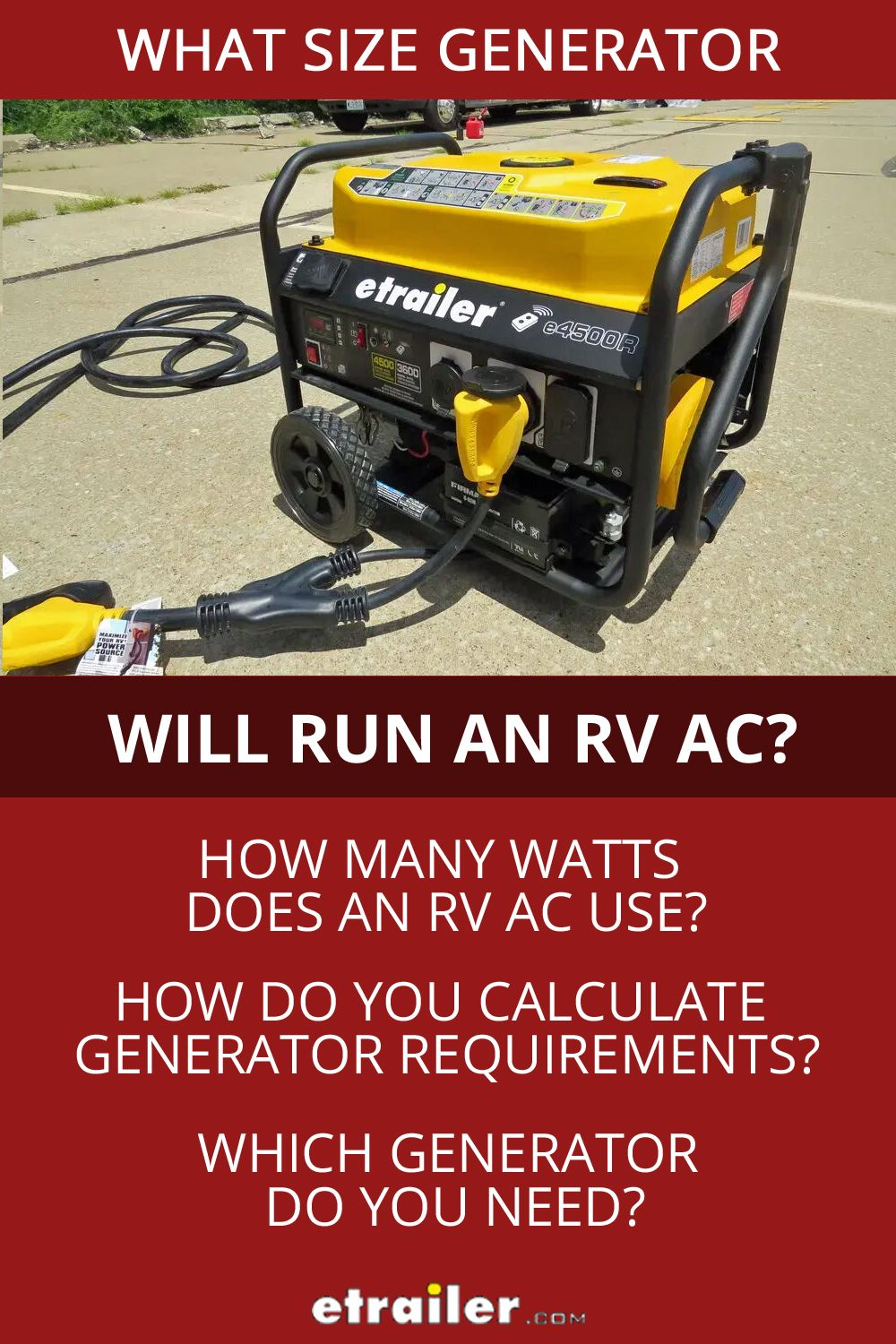 What Size Generator Do You Need to Run an RV Air