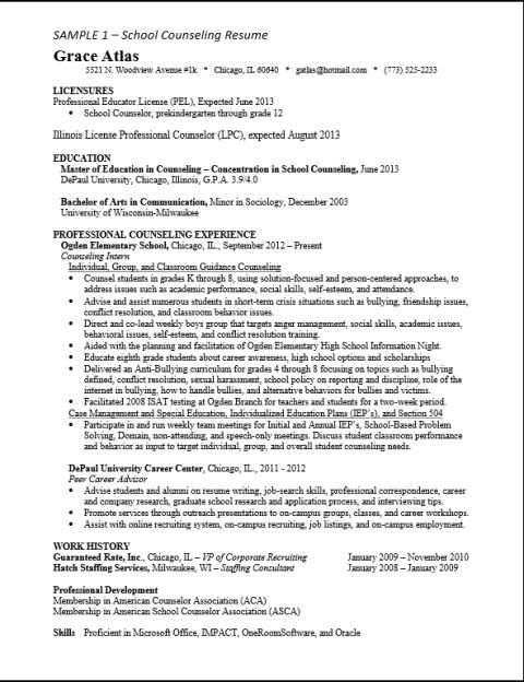 ASCA School Counselor Resume Sample httpresumesdesigncomasca