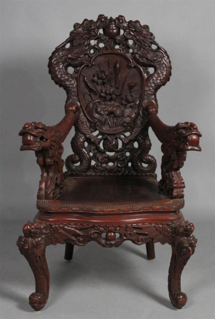 Japanese Scarlet Laquered Arm Chair Invaluable Com
