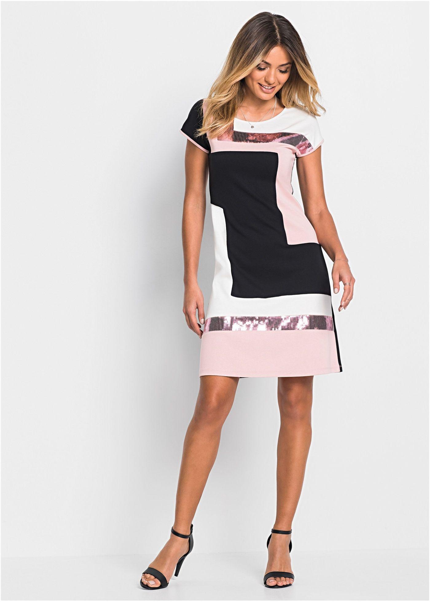 trikot-kjole sort/rosa/krem bestill nå i online shop til
