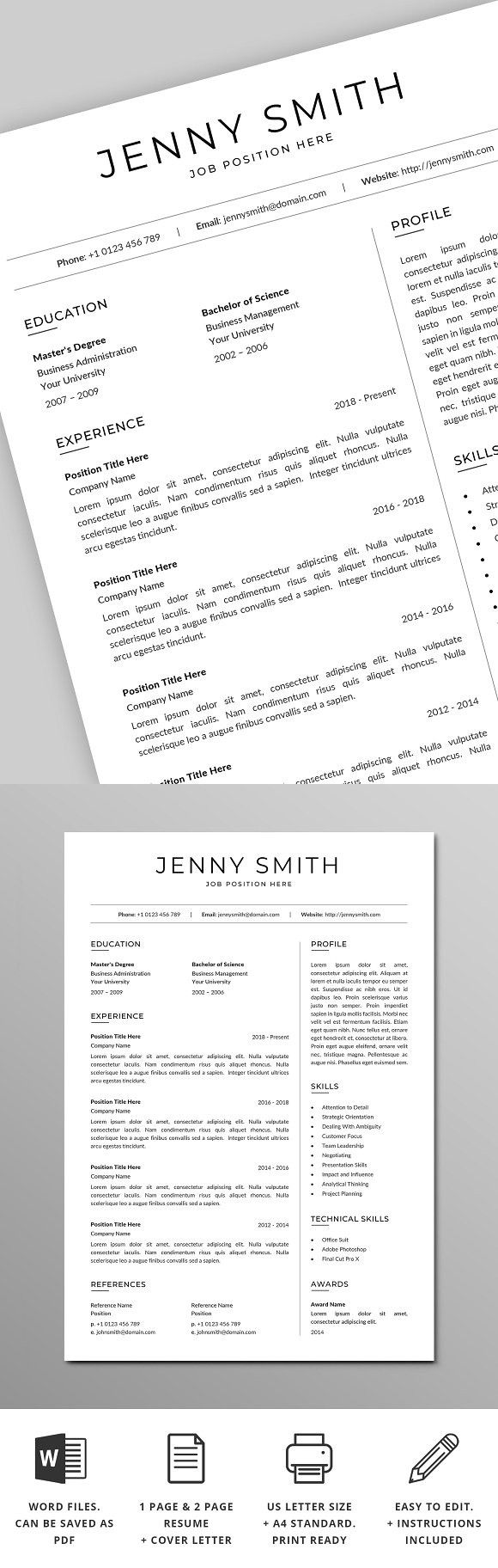 Resume Template Word Modern Clean CV (With images