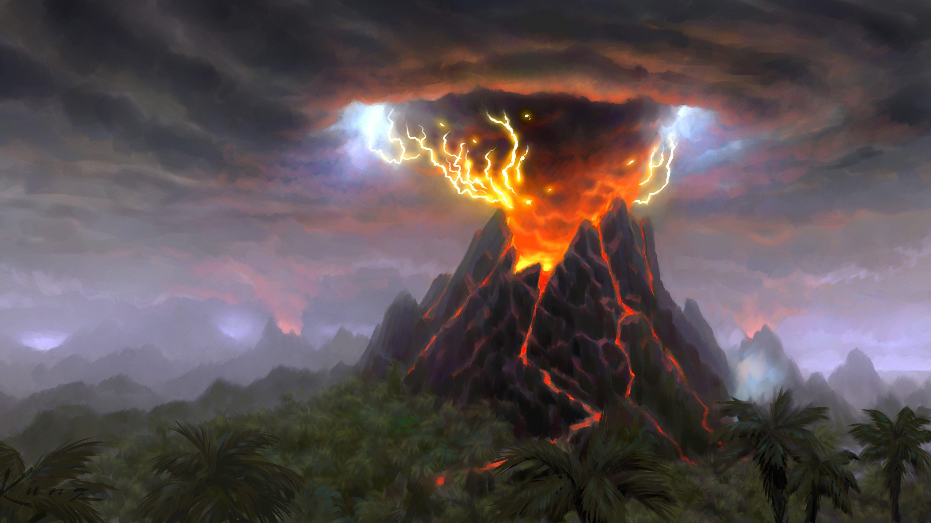 World Of Warcraft Cataclysm 4k Ultra Hd Wallpaper World Of Warcraft Cataclysm Art World Volcano