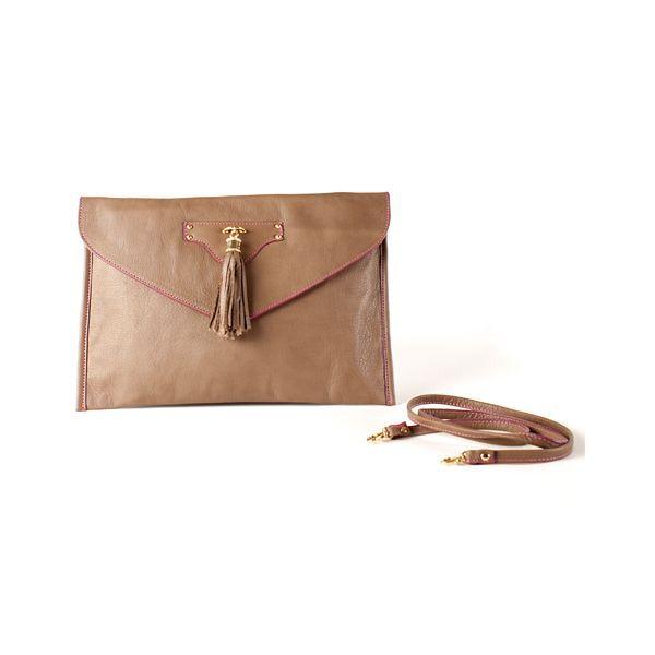 Brown MiniPopins clutch bag by Sara