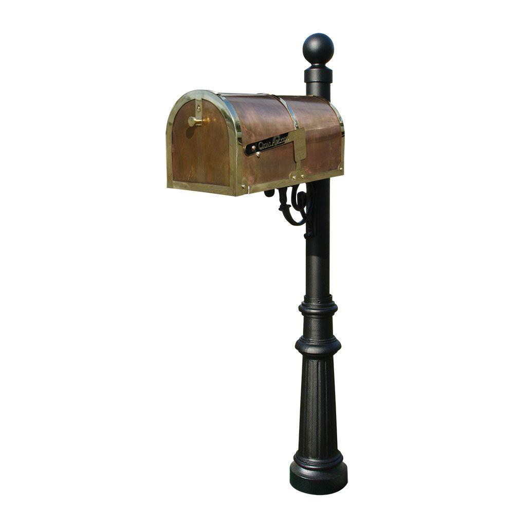 Polished Brass Post Mount Non-Locking Mailbox with Lewiston Post System, Mailbox Finish: Polished Brass Post Color: Black
