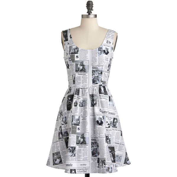 Quirky Mid-length Sleeveless A-line Start Spreading the Mews Dress by ModCloth featuring polyvore fashion clothing dresses modcloth white newsprint apparel fashion dress varies cotton a line dress vintage dresses vintage white dress white scoop neck dress white dress