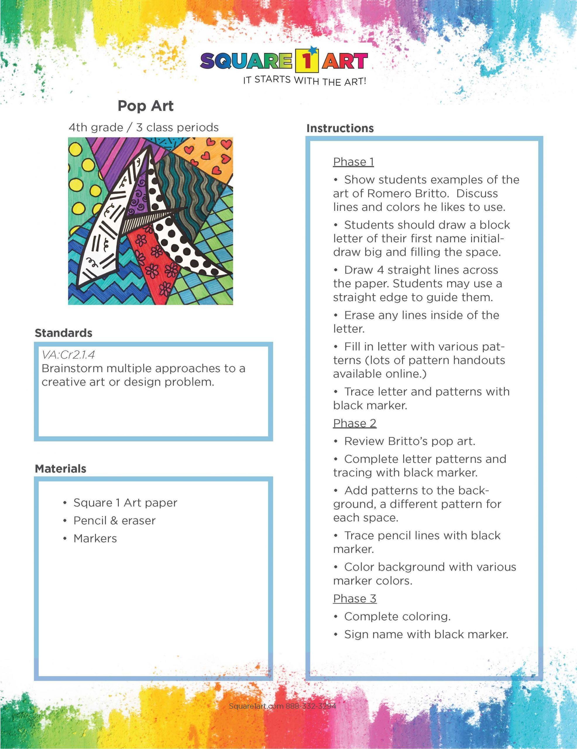 5 Pop Art Worksheet In