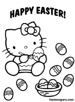 Printable Easter Hello Kitty Coloring Pages