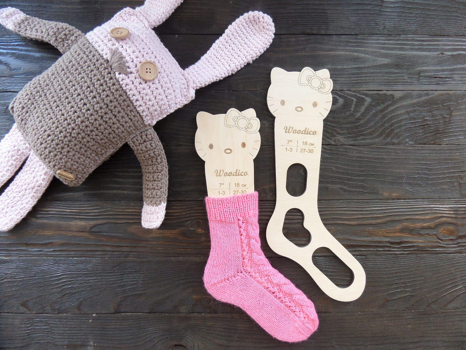 Wooden baby sock blockers / Kitty