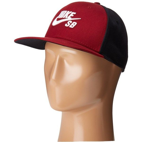 Nike SB Icon Snapback (Team Red Black Black White) Caps ( 30) ❤ liked on  Polyvore featuring accessories 2f18cdf7de10