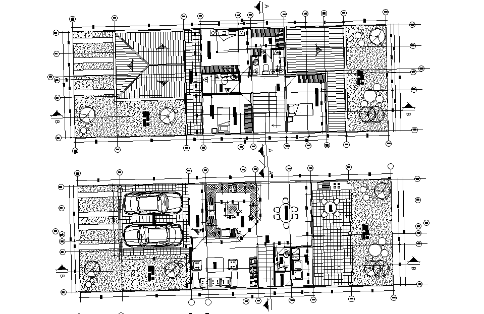 24x8m 3BHK house plan is given in this 2D Autocad DWG ...