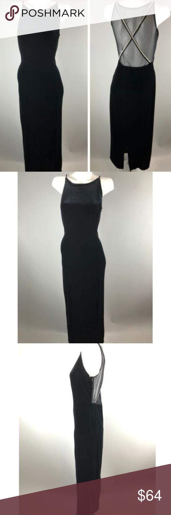 Vtg s black velvet prom dress gown rhinestone pinterest