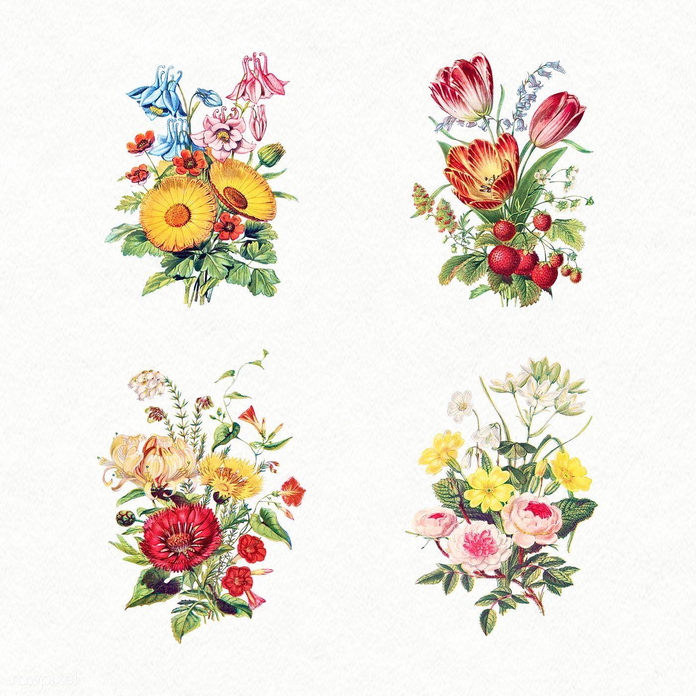 Trendy Vintage Flowers Poster Botanical Prints Ideas Flower Bouquet Tattoo Flower Drawing Vintage Flowers