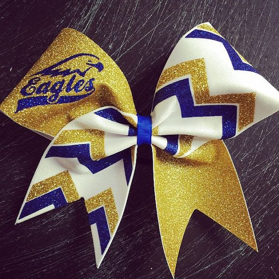 Check out Eagles gold , white and royal blue glitter chevron cheer ...