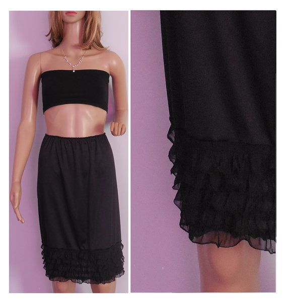Black Ruffle Slip extender, skirt extender, Dress Extender available in 9 colors, by www.bootcuffsandsocks.com