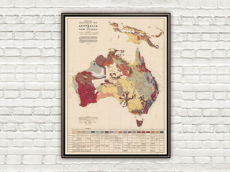 Old map australia new guinea geological vintage map product old map australia new guinea geological vintage map product image gumiabroncs Image collections