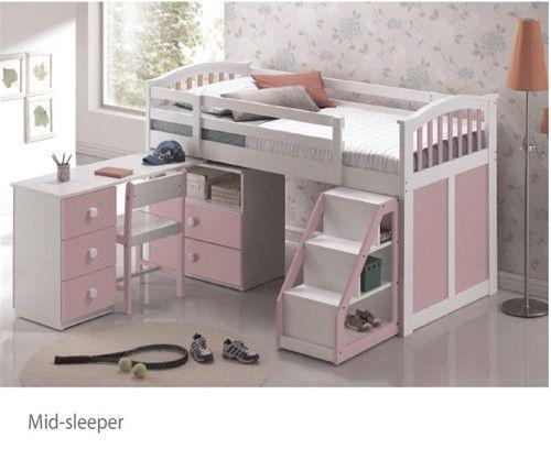 089413cd08fc Ruby Kipling Mid Sleeper (Pink) | Kids Room Ideas | Mid sleeper bed ...