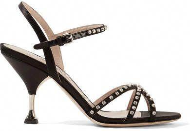 2dceb768214 Miu Miu Crystal-embellished Satin Sandals - Black  MiuMiu