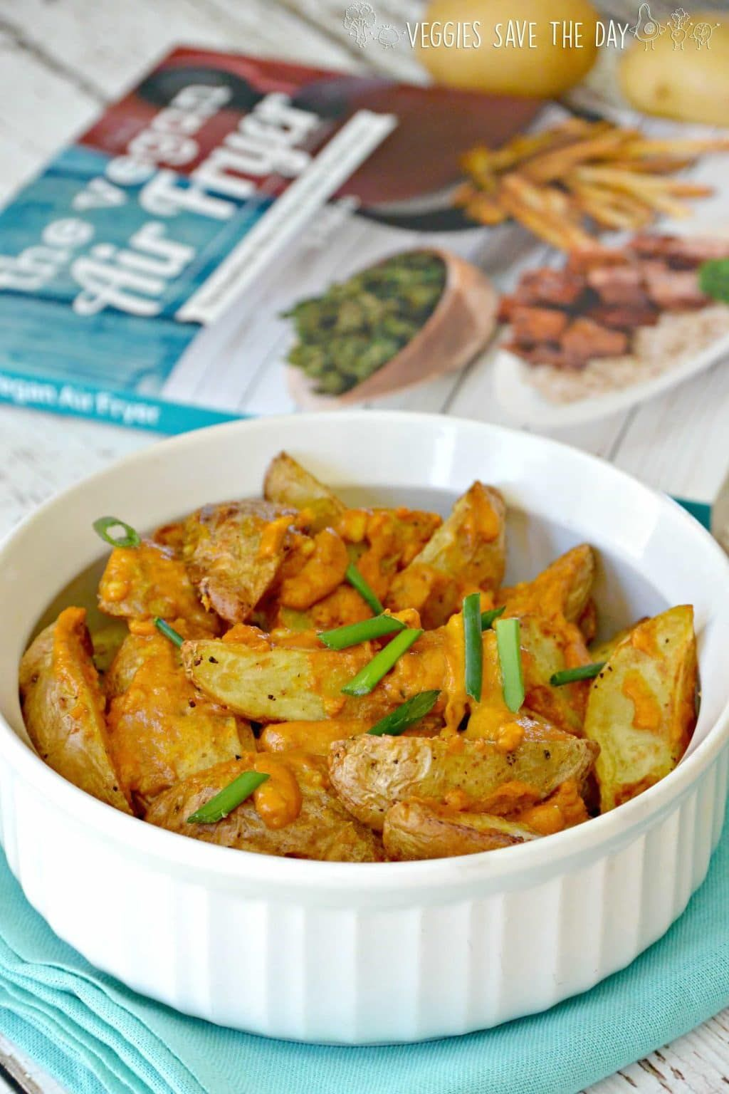Cheesy Potato Wedges from The Vegan Air Fryer by JL Fields