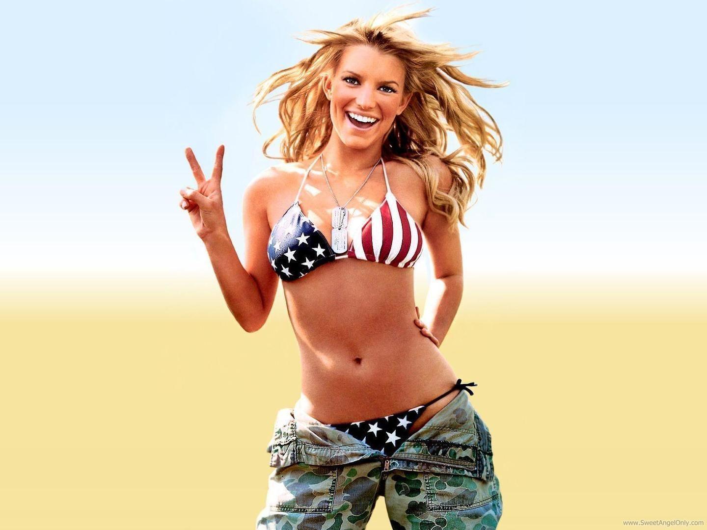 Jessica Simpson Dukes Of Hazzard Diet Wallpaper Hd Wallpaper American Flag Bikini Patriotic Bikini Flag Bikini