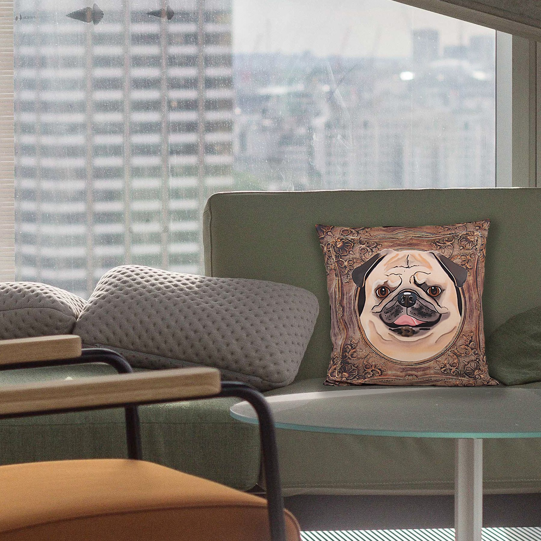 pug pillow cover adorable little fawn beige pug in a frame happy rh pinterest com