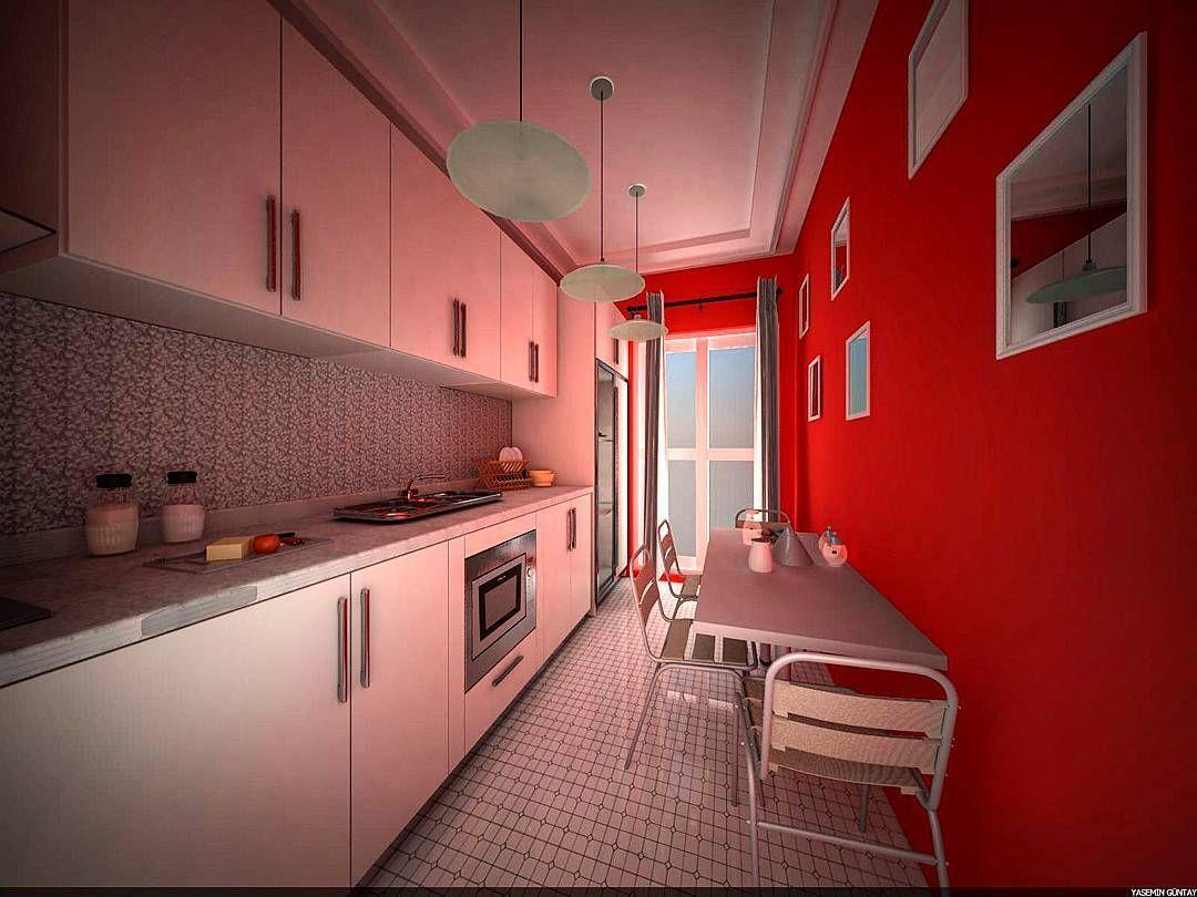 3Ds Max calismalarimiz... #architectural #architecture #kitchen #red #white #kirmizi #beyaz #good #3boyut #render #light #furniture #dizayn #design #picture #delicious #window #tb #followme #time #tired #funny by bayan3mimar