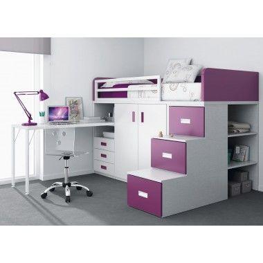 Lit superposé train avec tiroirs, bureau, armoire et escalier avec - meuble de rangement avec tiroir