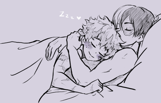 "kinnme: ""This cuddle, snuggle, cozy, warm tododeku sketch was"
