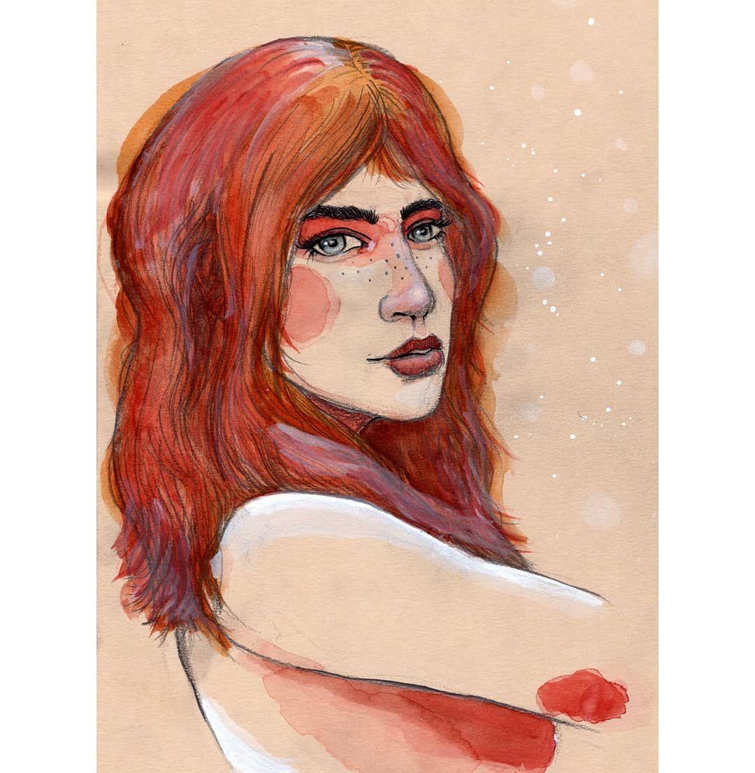Neige Aquarell Portrait Frau Madchen Zeichnen Zeichnen
