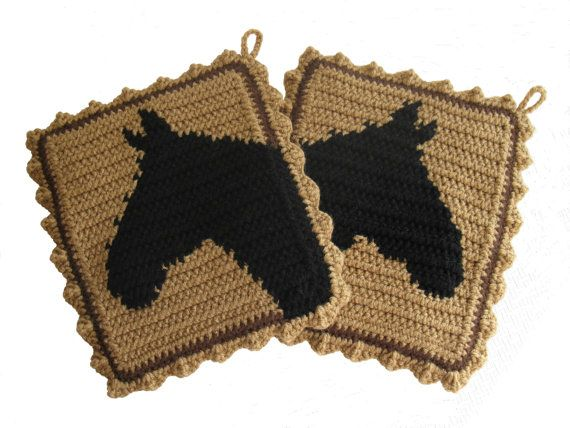 Horse Pot holders. Large, crochet potholders with horse ...