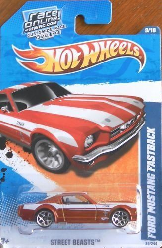 RED /& WHITE STRIPES NEW HOT WHEELS FORD MUSTANG FASTBACK STREET BEASTS