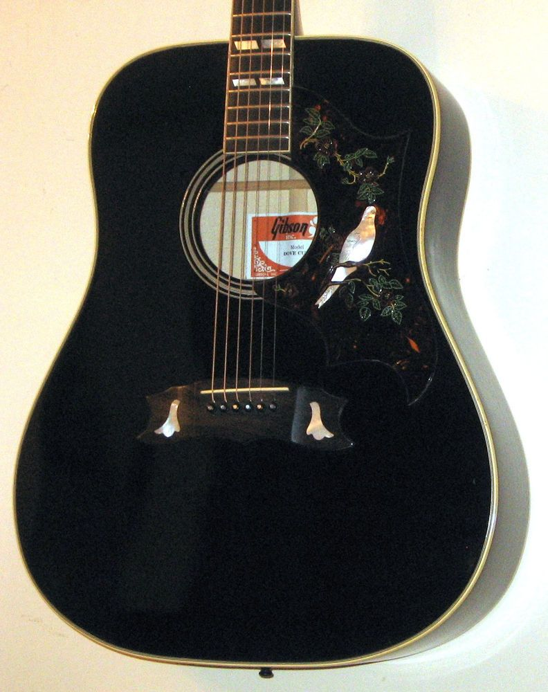 1977 gibson dove custom acoustic guitar w original gibson case ebony black gibson dorm in. Black Bedroom Furniture Sets. Home Design Ideas
