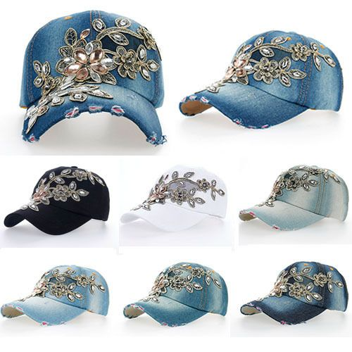 baseball cap design software template free new top adjustable fashion leisure rhinestones flowers jean hat online