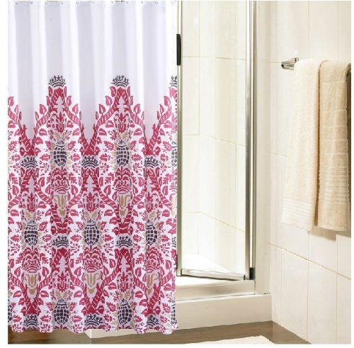 Eforgift Extra Long Damask Pattern Fabric Shower Curtain Heavy