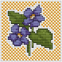 Violets free cross stitch pattern | crosstitch | Cross