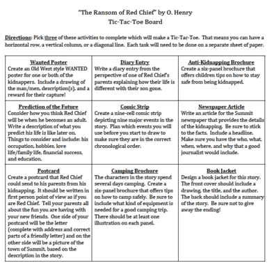 The Ransom Of Red Chief Tic Tac Toe Choice Board Projects Ela