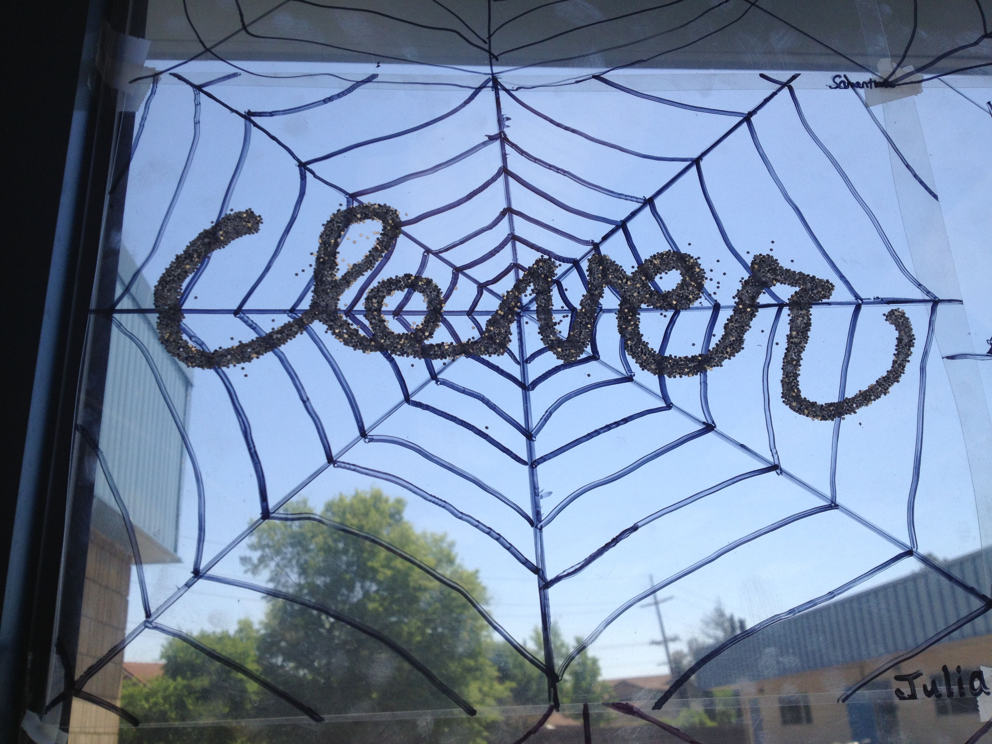 Charlotte\'s web art project. Students draw a spider web on a ...