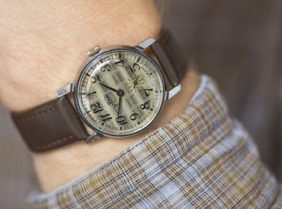 Round men's wristwatch ZIM grey beige ornamented face by SovietEra, $73.00