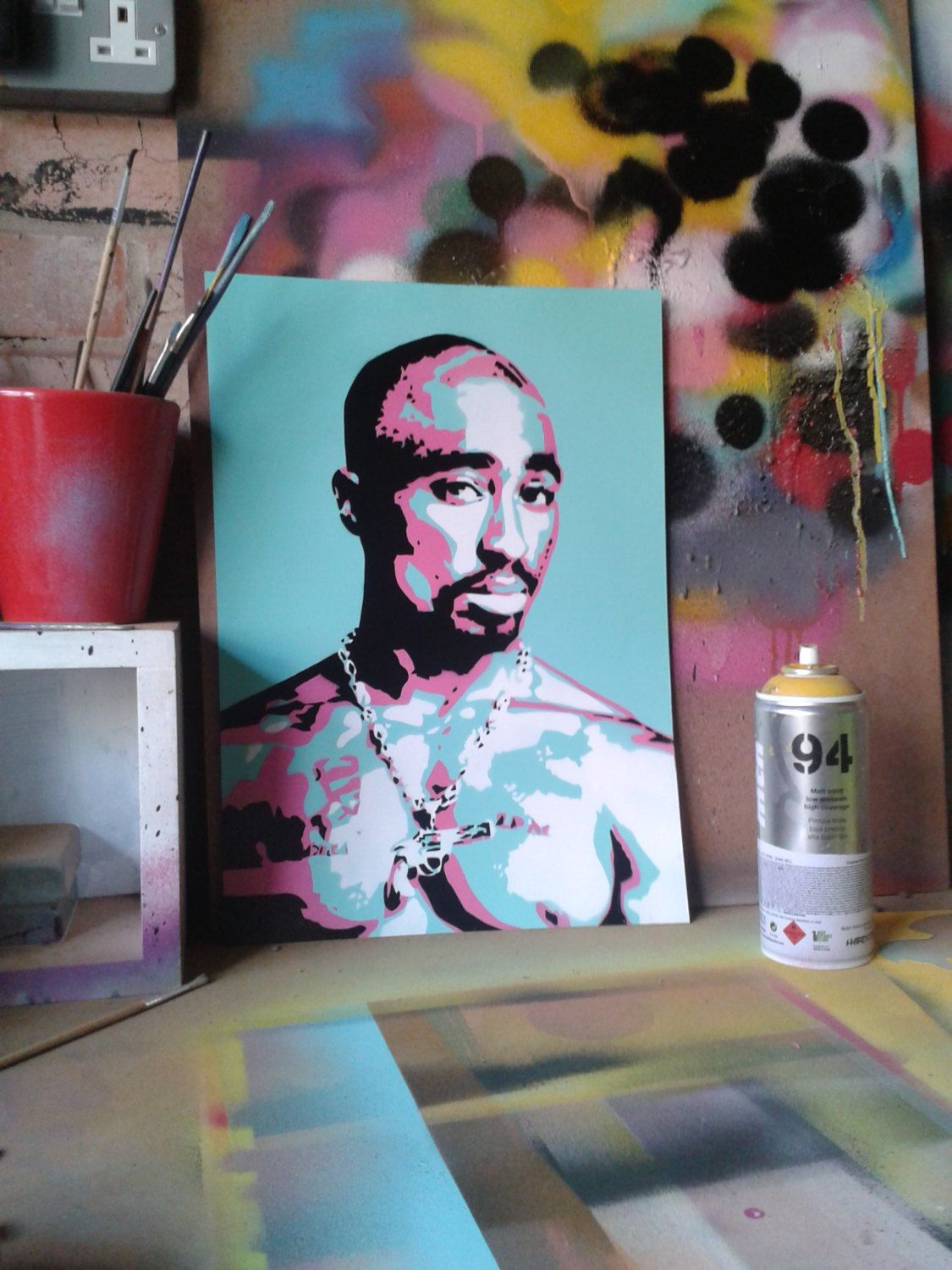 2pac painting on cardstencilsspray by abstractgraffitishop on etsy 50 00