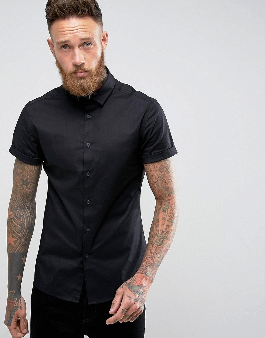 e4aa7c563 DESIGN skinny shirt in black with short sleeves | Billy Huxley ...