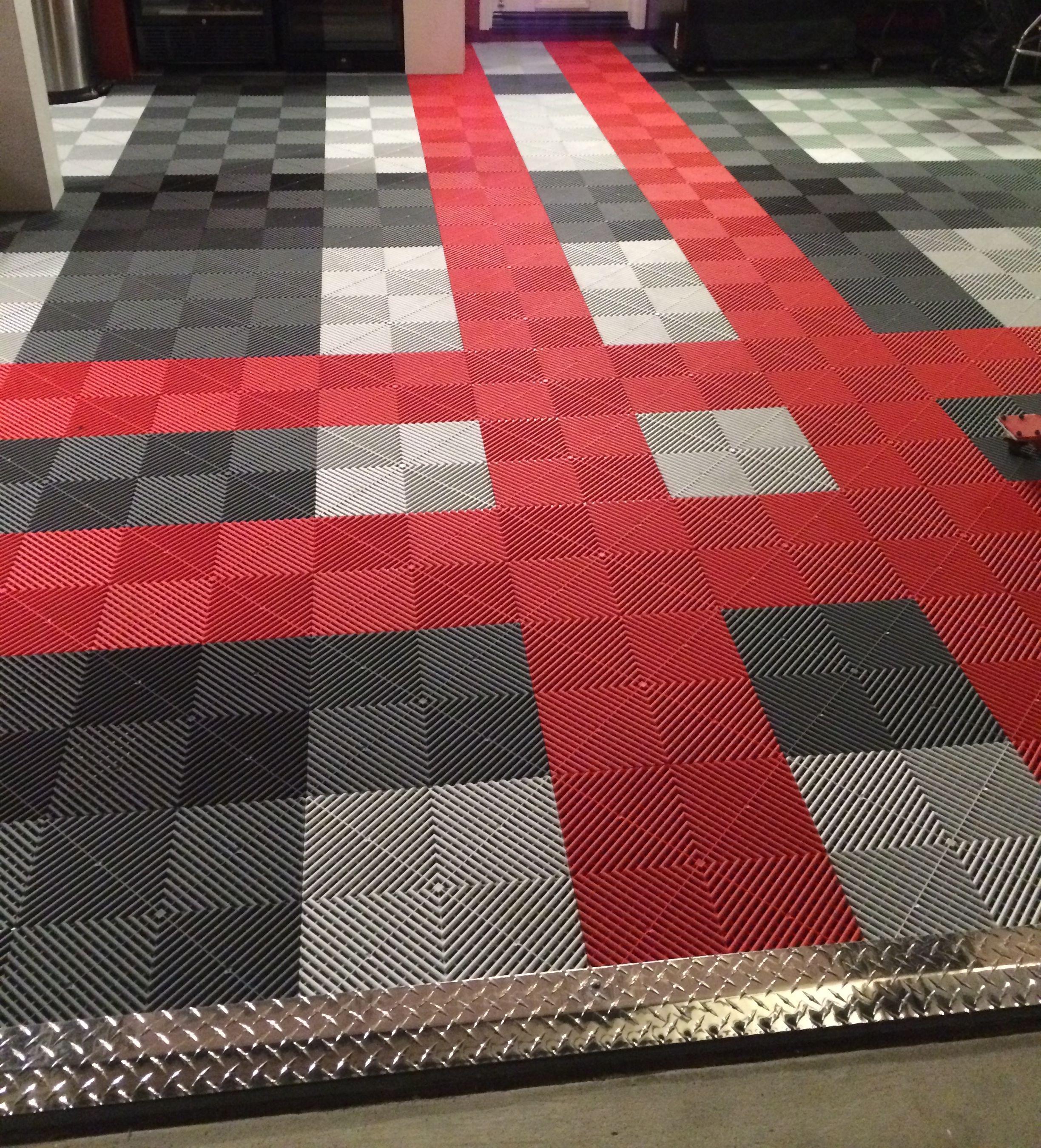 Swisstrax garage flooring ribtrax tile pearl silver racing red garage floor beauty burberry inspired style custom diamond plate ramp transitions modmyfloor dailygadgetfo Gallery