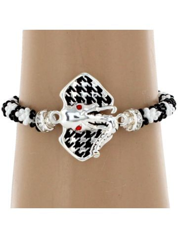 $4.95 Black and White Seed Bead Bracelet with Houndstooth Elephant