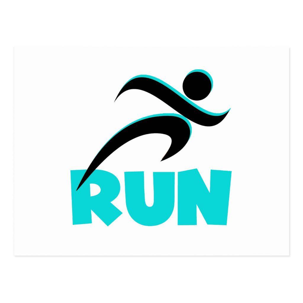 Run Aqua Postcard Zazzle Com In 2021 Word Mark Logo Running Logo Love Logo