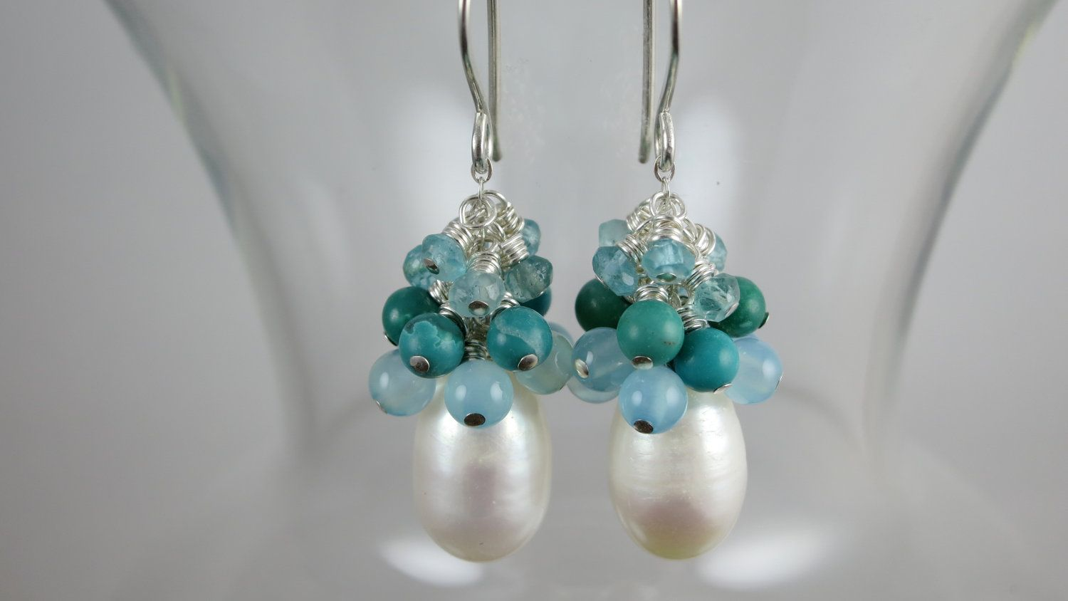 Fresh Water Pearl And Turquoise Earrings  Talia Serinese Jewelry