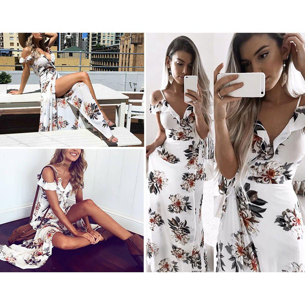 Chiffon floral print ruffles maxi dress vneck split beach long