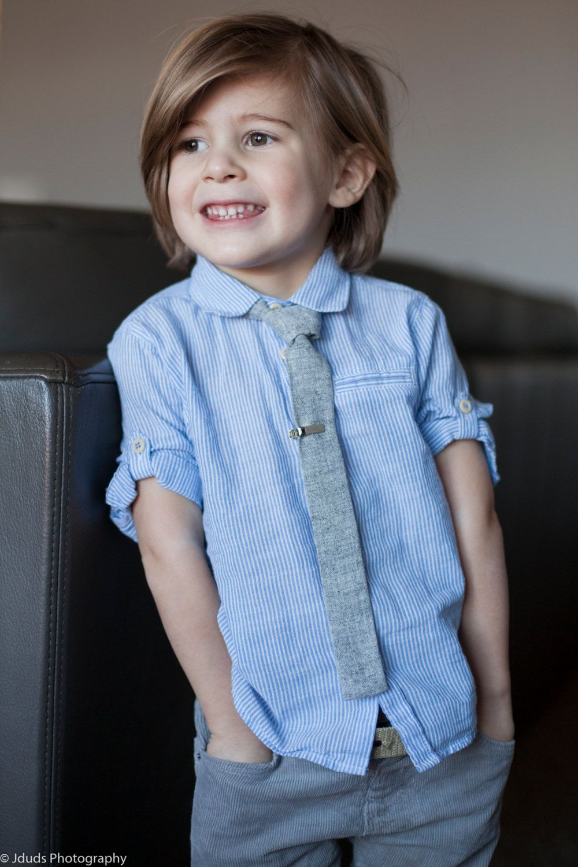 Boys flat bottom skinny tie, kids necktie, gray texture tie,toddler ...
