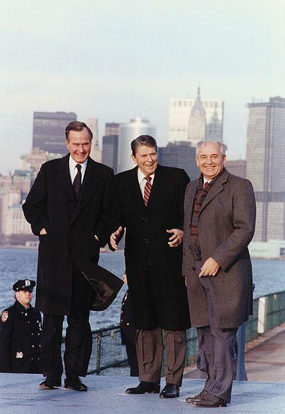 President Reagan, Vice-President Bush meet with Soviet General Secretary Gorbachev on Governor's Island, New York, 1988