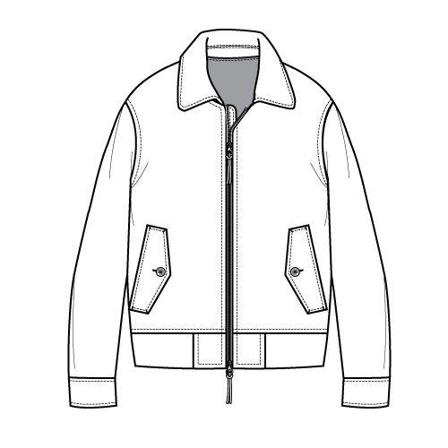 Line Drawing Jacket : Double metal zipper flat sketch for wind breaker jacket