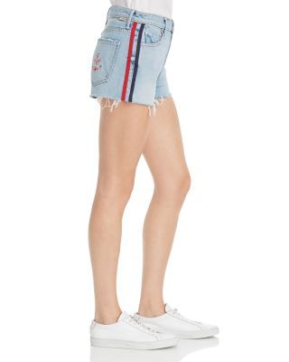 MOTHER Easy Does It Track Stripe Denim Cutoff Shorts in Thanks, Again Racer Women - Bloomingdale's
